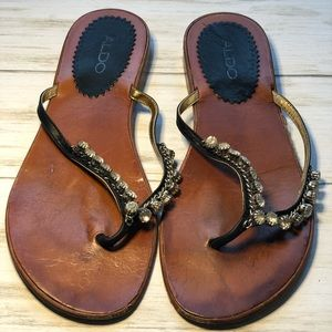 ALDO Black Leather Sandals